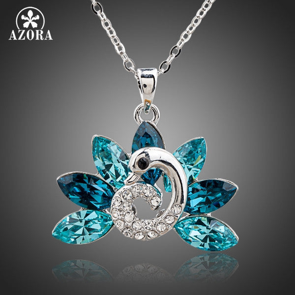Peacock White Gold Austrian Crystal Pendant Necklace