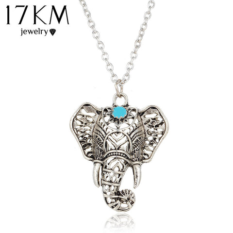 Elephant Antique Blue Stone Necklace