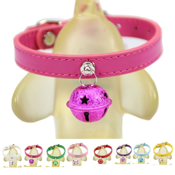 Adjustable Leather Pet Collar with Bell in a Variety of Colors