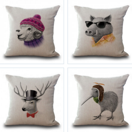 Pillow Cases with Sheep, Deer, Boar, Bird