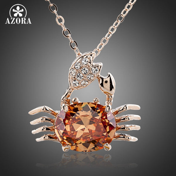 Crab Rose Gold Crystal Pendant Necklace