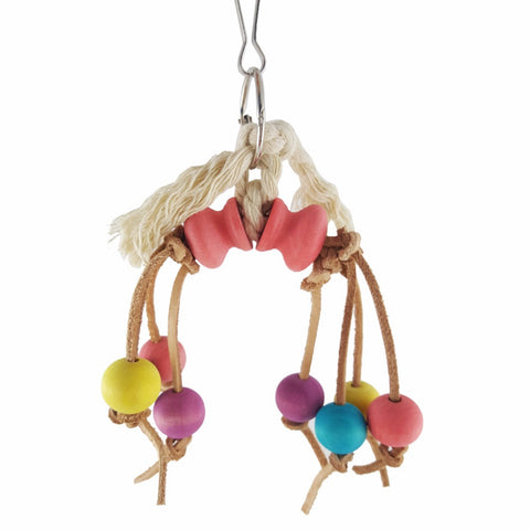 Rope Swing with Round Wooden Beads for Birds