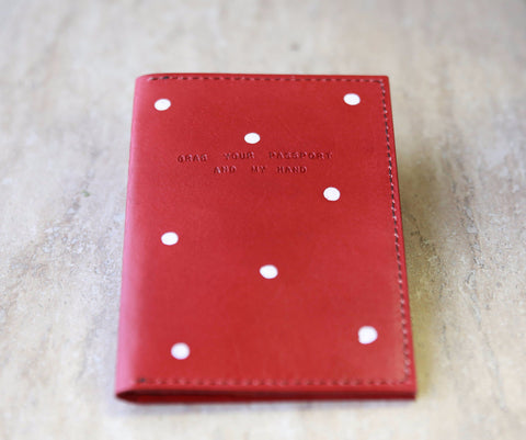 Red Polka Dot Passport Holder