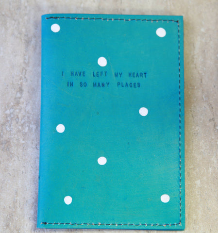 Turquoise Passport Holder with Polka Dots