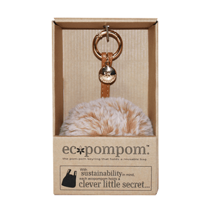Fluffy Pink Key Ring w. Reusable Grocery Bag