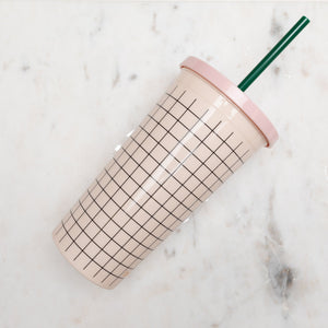 SIP SIP TUMBLER WITH STRAW - MINI GRID