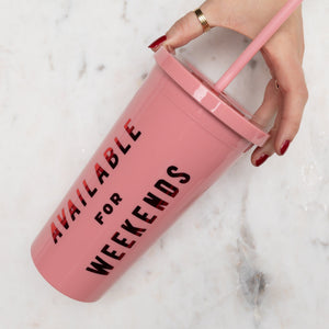 SIP SIP TUMBLER WITH STRAW - PINK