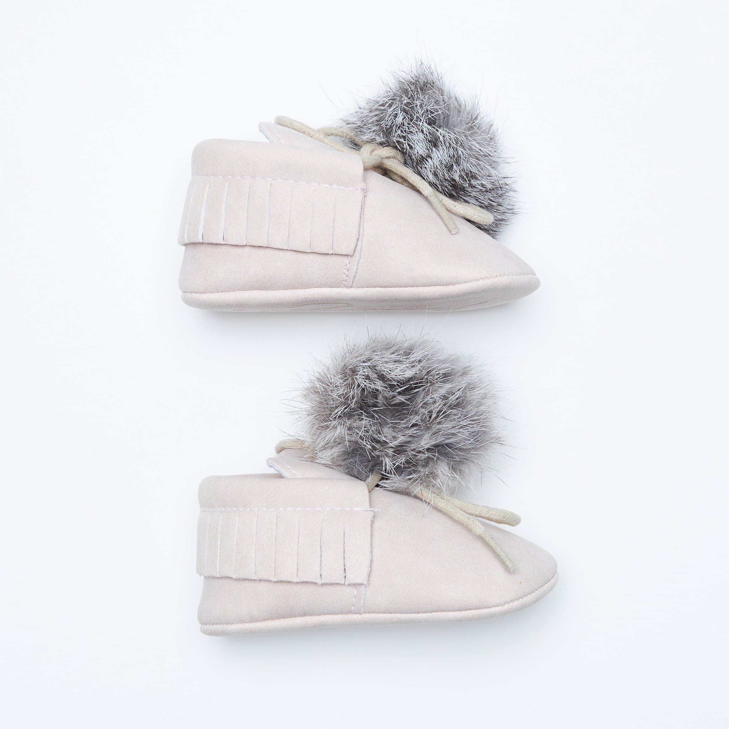 BUNNY TAIL MOCCASINS