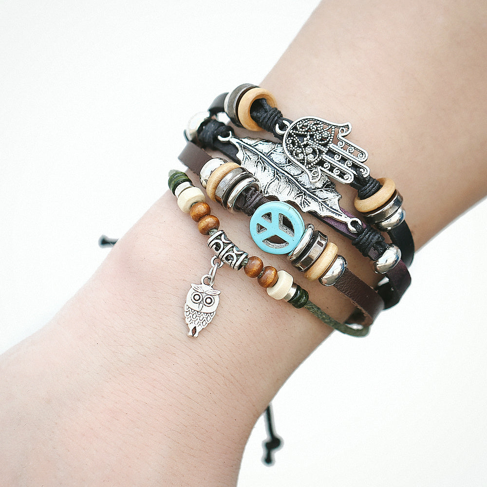 beads diy jewelry bangles charm heart bracelet gold women for bracelets owl female products