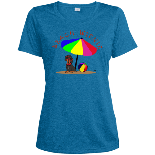 Beach Wienie Dachshund Ladies' Heather Dri-Fit Moisture-Wicking T-Shirt - Beach Wienie