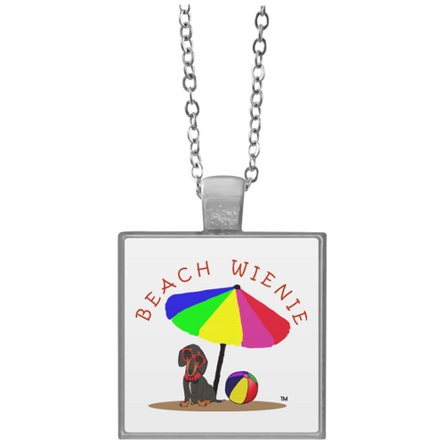 Beach Wienie Dachshund Square Necklace - Beach Wienie