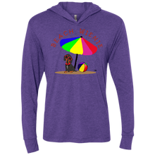 Beach Wienie Dachshund Unisex Triblend LS Hooded T-Shirt - Beach Wienie