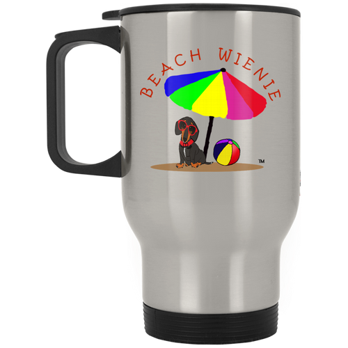 Beach Wienie Dachsund Silver Stainless Travel Mug - Beach Wienie