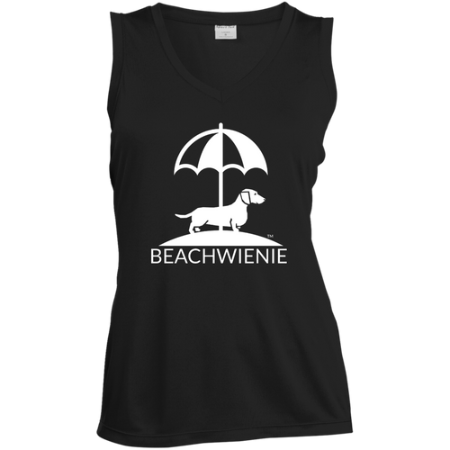 Beach Wienie Logo Ladies' Sleeveless Moisture Absorbing V-Neck - Beach Wienie