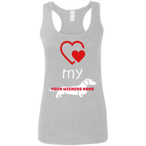 Love my Wiener Ladies' Softstyle Racerback Tank (Personalized) - Beach Wienie