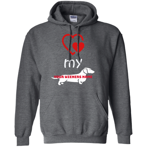 Love my Wiener Pullover Hoodie (Personalized) - Beach Wienie