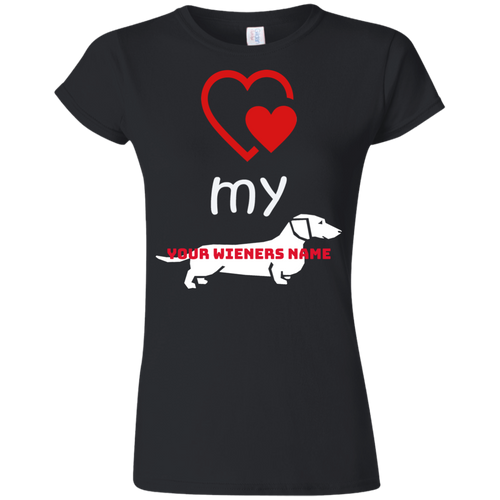 Love my Wiener Softstyle Ladies' T-Shirt (Personalized) - Beach Wienie