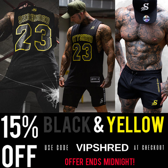 15%OFF ALL BLACK & YELLOW - ENDS MIDNIGHT! Don't miss out!