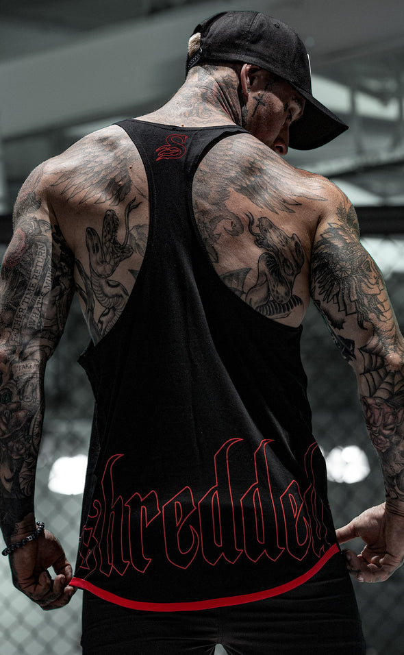 HOLLOW T-BACK - gym singlet tanktop - Black/Red