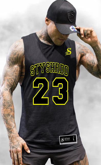 BALLER- Basketball Muscle Tank - Black/Yellow