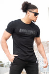 SHREDDED LIFTWEAR TEE - Gym Muscle T-Shirt - STEALTH BLACK/BLACK