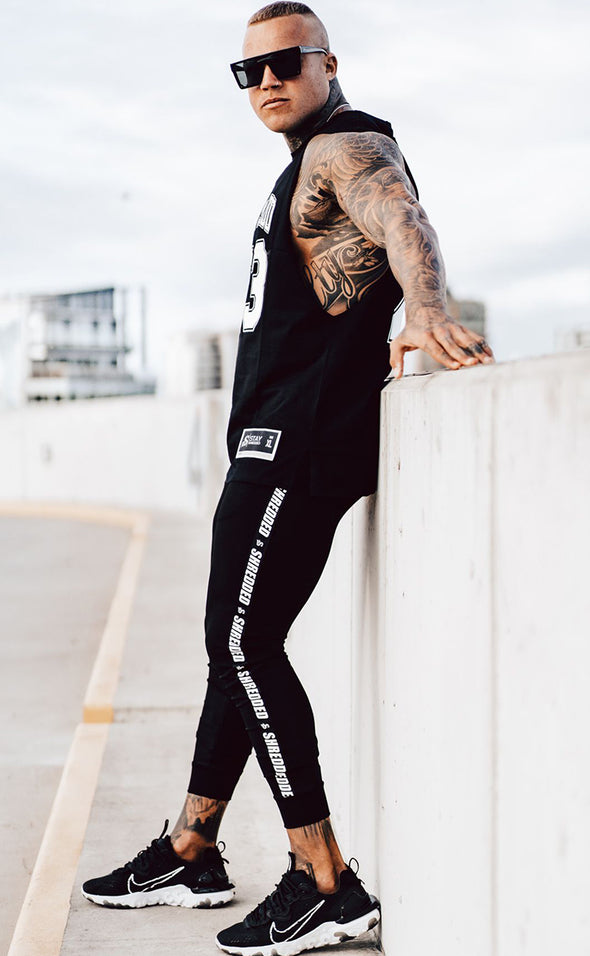 Shredded Taped Gym Joggers -Unisex - Black