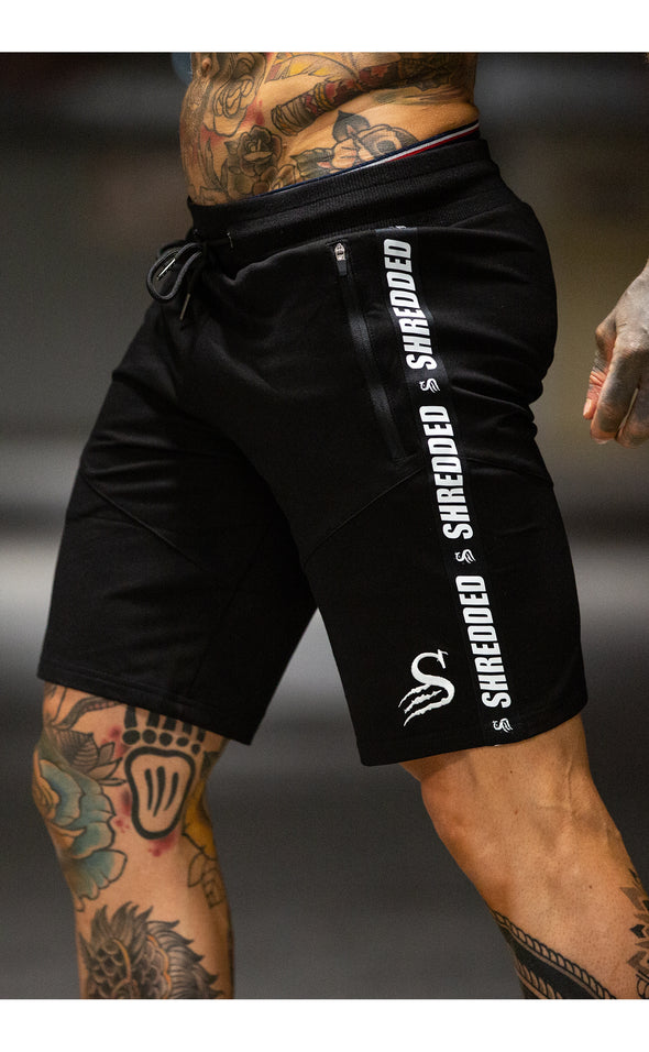 SHREDDED TAPED MIDCUT - Mens GYM SHORTS - BLACK/WHITE