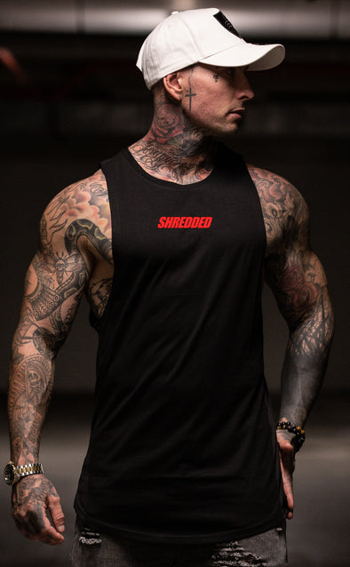 SHREDDED HYBIRD - Longline Muscle Tank top - Black / Red