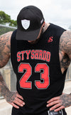 BALLER- Basketball Muscle Tank top - Black/Red