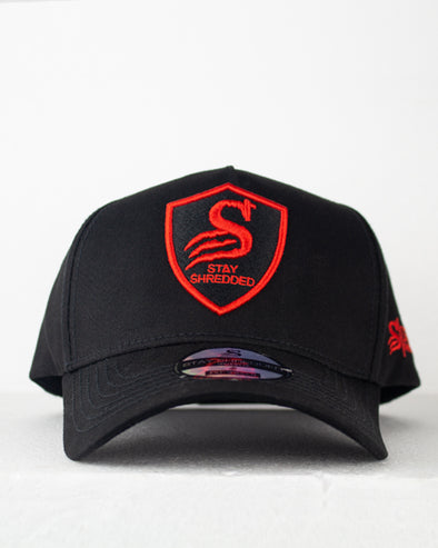 Premium Crest A-frame Hat Cap - Black Widow - Black / Red