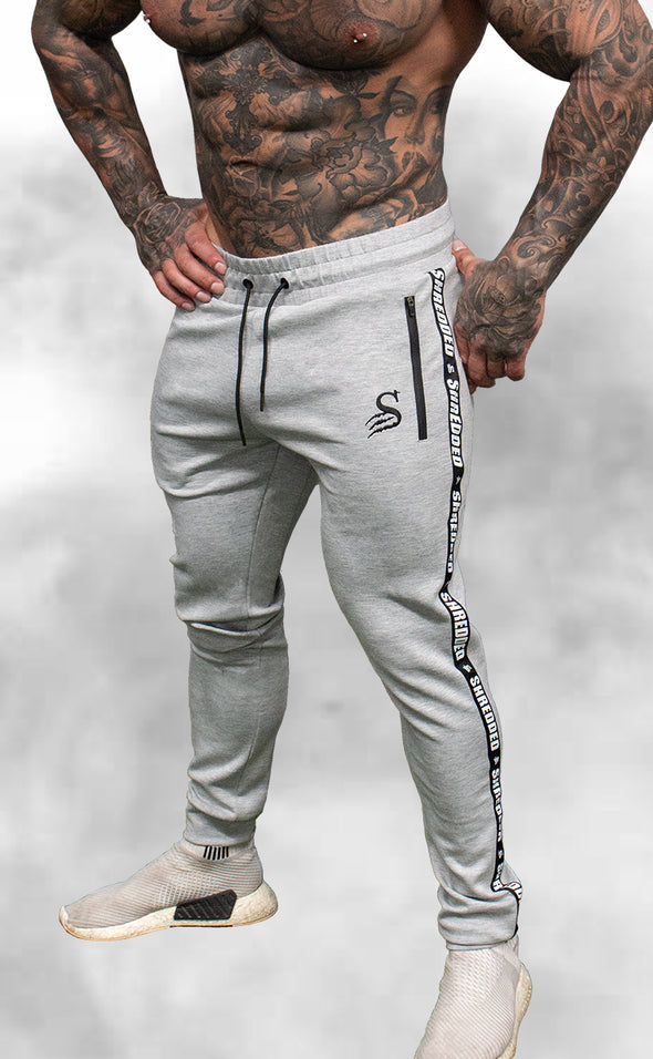 Shredded Taped Gym Joggers - Unisex - Grey