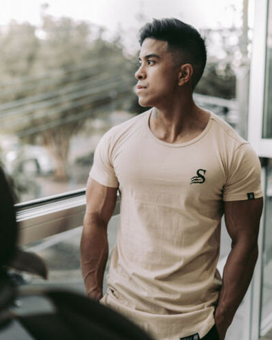 Stay Shredded Muscle Tee - Beige