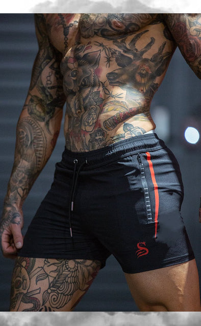 Quads of the Gods - FLEX - gym lift Lifting Shorts - BLACK / RED