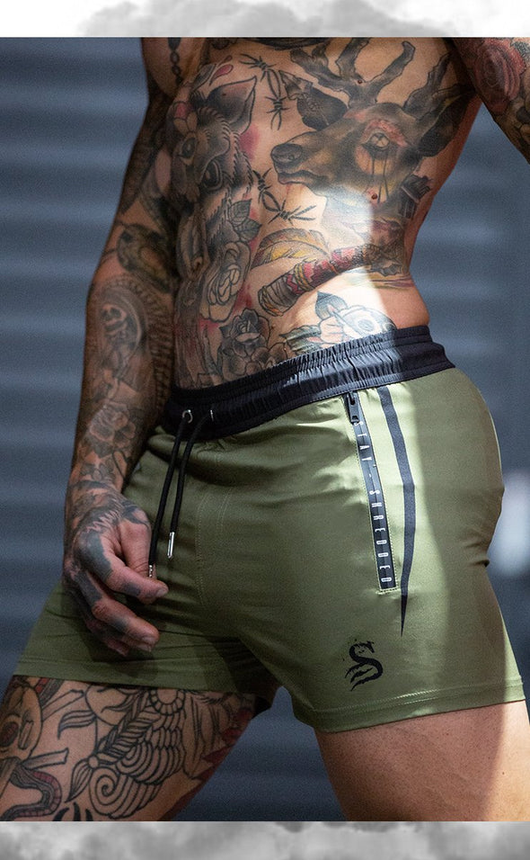 Quads of the Gods - FLEX - gym lift Lifting Shorts - KHAKI GREEN