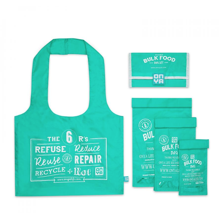 Reusable Bulk Food Bag Set - Aqua