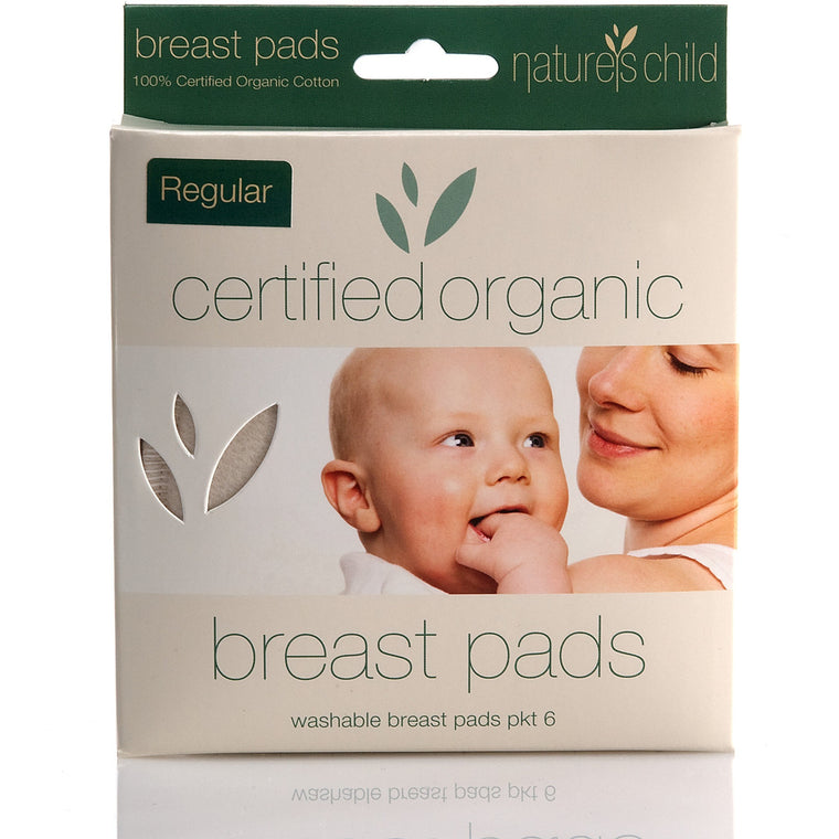 Organic Cotton Washable Breast Pads Pkt 6 - Regular