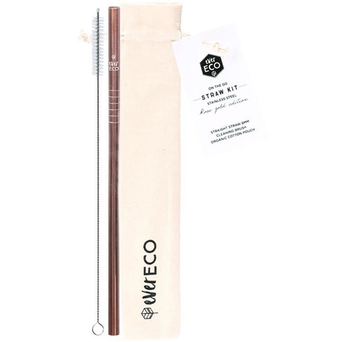On-The-Go Straw Kit - Rose Gold - Straight