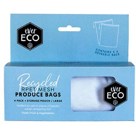 Reusable Produce Bags RPET Mesh Storage Pouch - 4 Pack