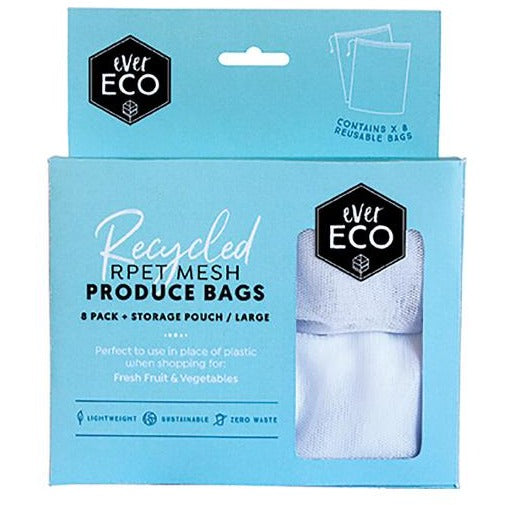 Reusable Produce Bags RPET Mesh Storage Pouch - 8 Pack