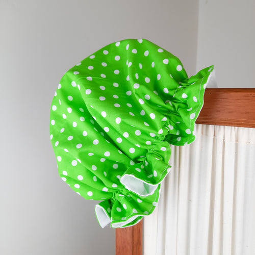 Green & White Spots Shower Cap - Apple & Radish