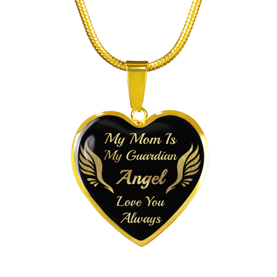 To My Mom - Guardian Angel - Gold Necklace