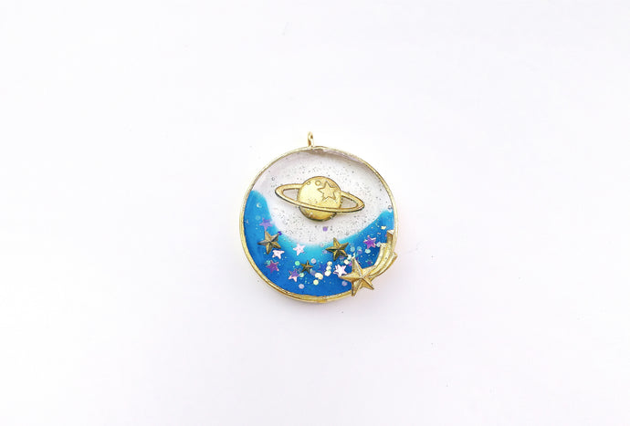 DIY Blue Planet Galaxy Resin Charm