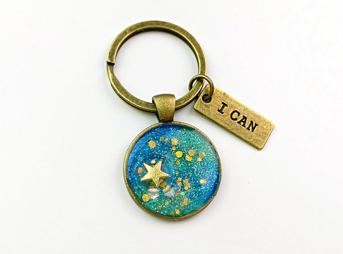 UV resin Kawaii water ripple blue keychain