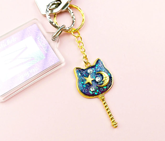 Blue Galaxy Cat Resin Charm