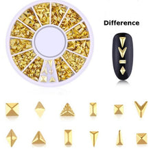 Load image into Gallery viewer, Metal studs nail art and resin decorations