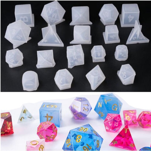 19pcs Dice silicone molds, 3D Polyhedral dice mold