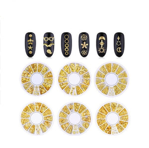 Metal studs nail art and resin decorations