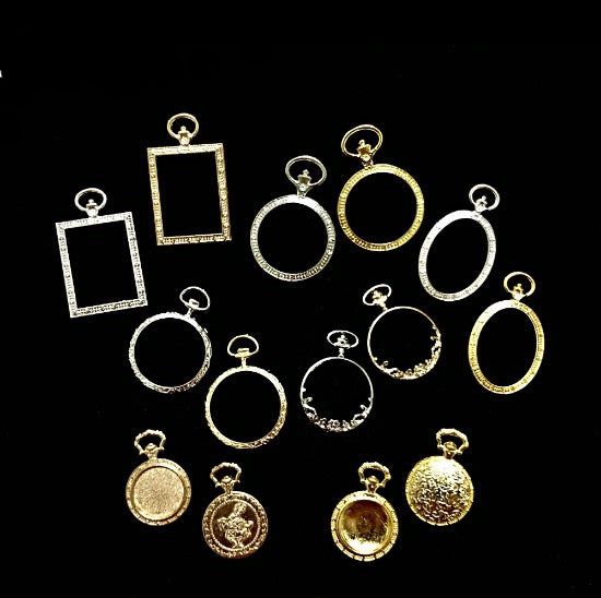 5pcs Vintage Style Pocket Watch Open Bezel Charms - 14 designs to choose from