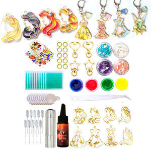 DIY Resin princess charms making kit, Resin Jewelry kit