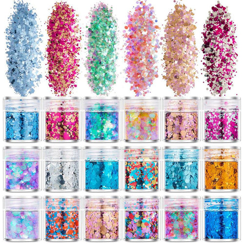 18 Bottles of Glitter Sequins - Variety of Colors
